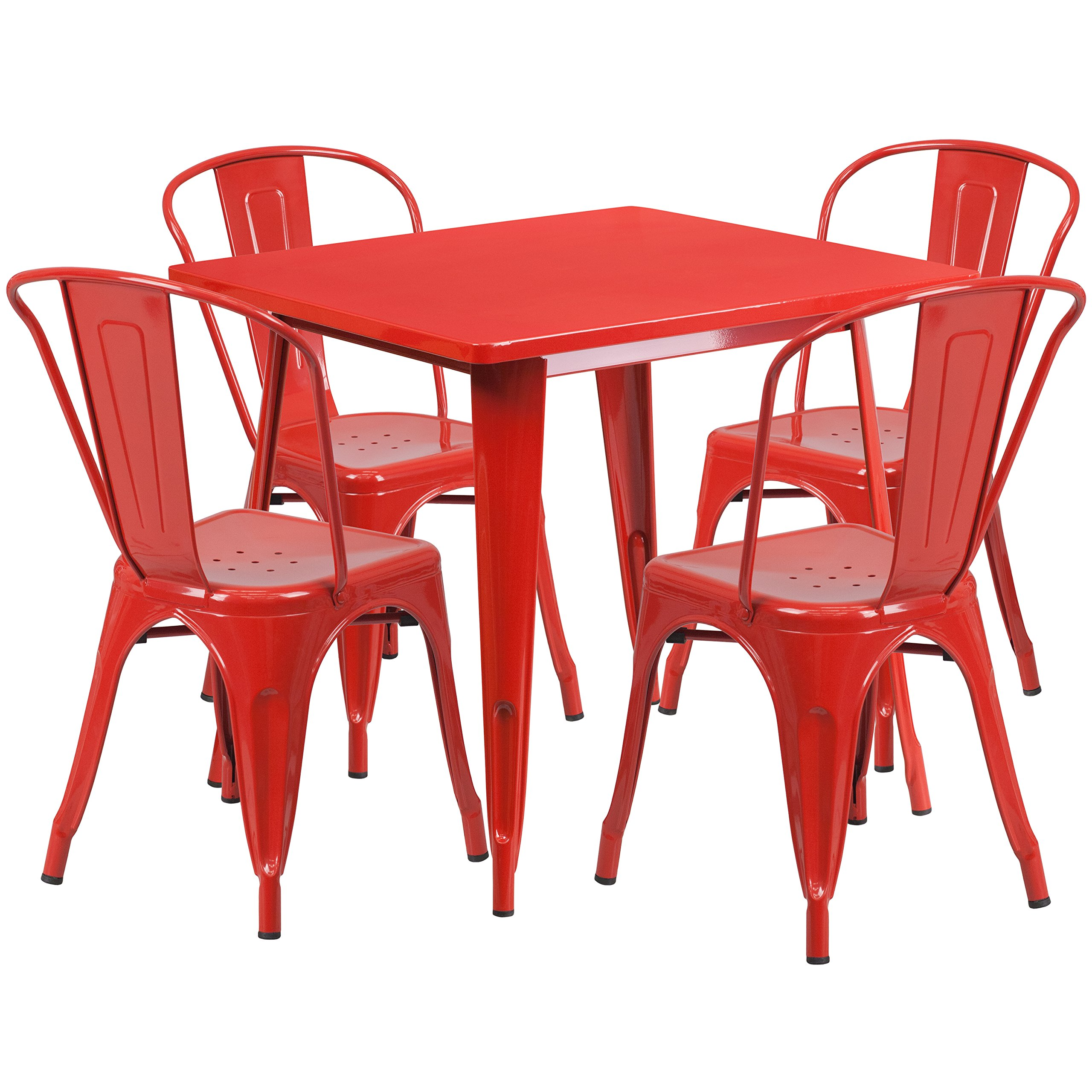 Flash Furniture 31.5'' Square Red Metal Indoor-Outdoor Table Set with 4 Stack Chairs by Flash Furniture