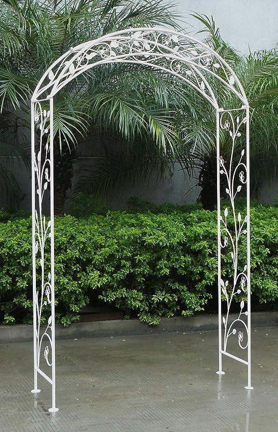 Charles Bentley Jardín Arco en Blanco - Negro Hierro Forjado - Al ...