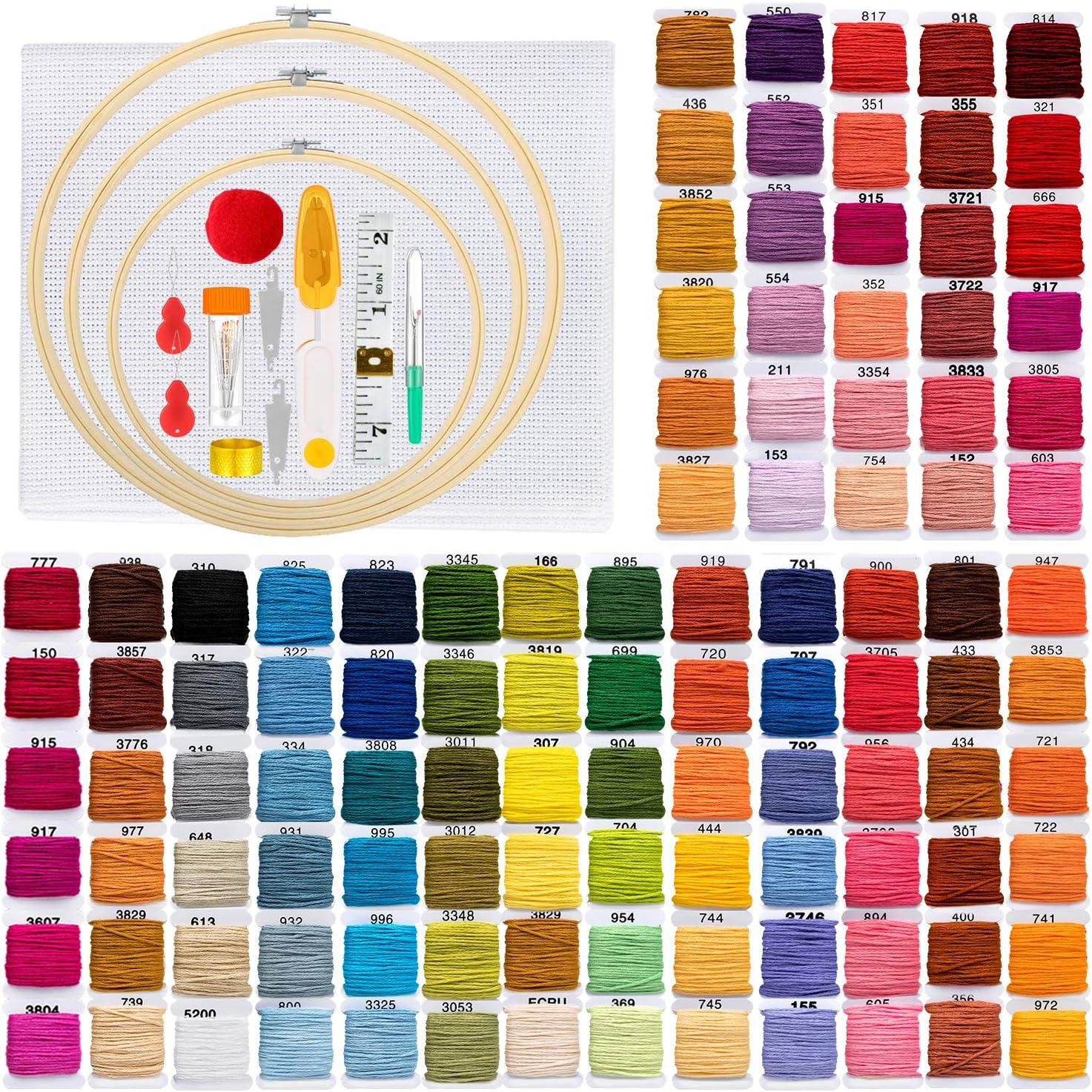 ZWOOS Stickerei Set Stickgarn und Werkzeugen f/ür N/ähen Handwerk 3 St/ück Set Kreuzstich Set 3 Pack 1 Stickrahmen DIY Kunst Komplettes Sortiment an Stickstarter-Kits mit Mustern und Anleitungen
