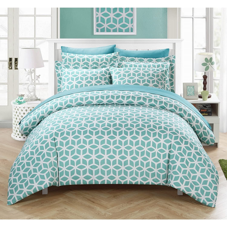 duvets covers  sets  bedding -  piece aqua blue white diamond grid duvet cover king set blue abstractadult bedding