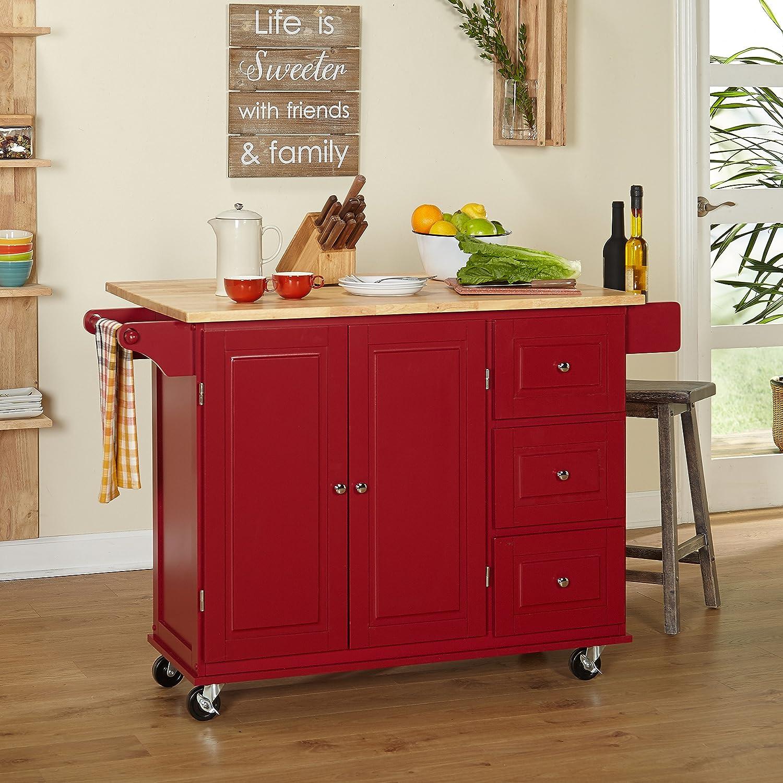 MattsGlobal Traditional Chrome Metal 3-Drawer Drop Leaf Kitchen Cart (Red/Natural Kitchen Cart)