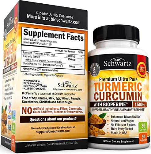 Turmeric Curcumin with BioPerine 1500mg. Highest Potency Available. Premium Joint Healthy Inflammatory Support with 95 Standardized Curcuminoids. Non-GMO, Gluten Free Capsules with Black Pepper