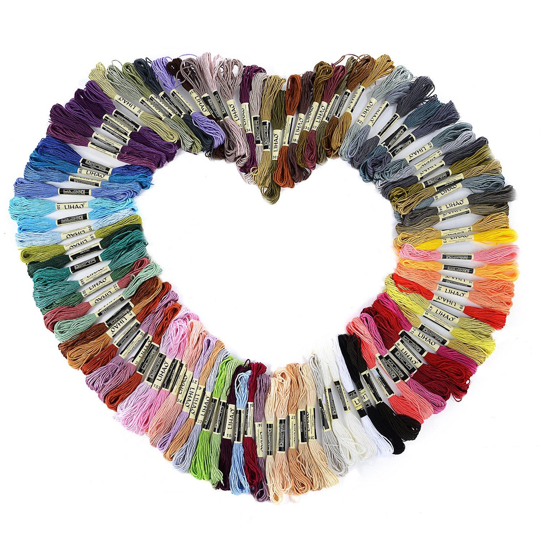 LIHAO Hilos de Bordar de Algodón con 100 Madejas 8 Metros (Multicolor)