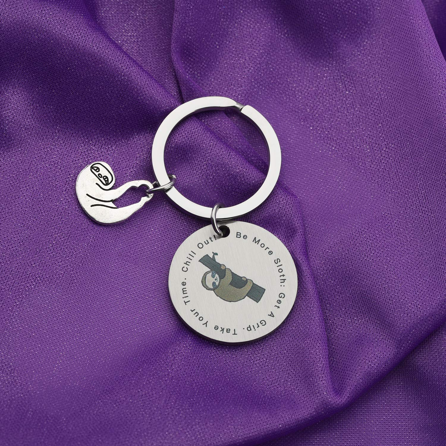 Sloth Lover Jewelry Be More Sloth Get A Grip Take Your Time Chill Out Sloth Keychain Animal Jewelry