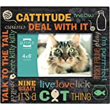 Prinz Typography Cat Wood Frame, 6 by 4-Inch