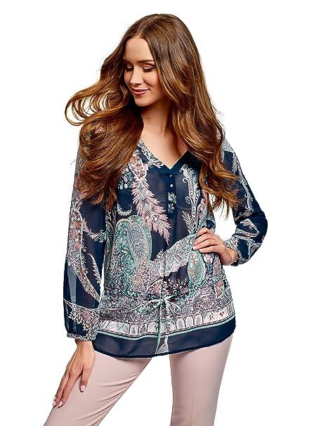 oodji Collection Mujer Blusa Estampada de Gasa, Azul, ES 36/XS