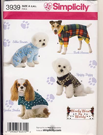 Amazon.com: Simplicity 3939 Sewing Pattern Use to Make Dog Clothes ...