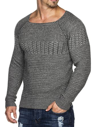 Tazzio Herren Styler doppel Muster Strick-Pullover mit weitem Ausschnitt  16495  Amazon.de  Bekleidung 2ef2336d6e