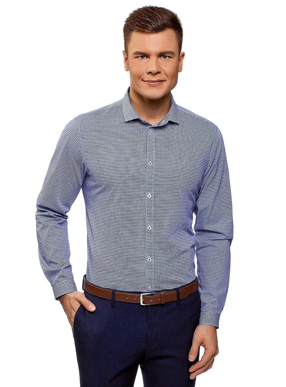 TALLA сm 38 / ES 38 / XS. oodji Ultra Hombre Camisa de Algodón con Decoración Gráfica Pequeña