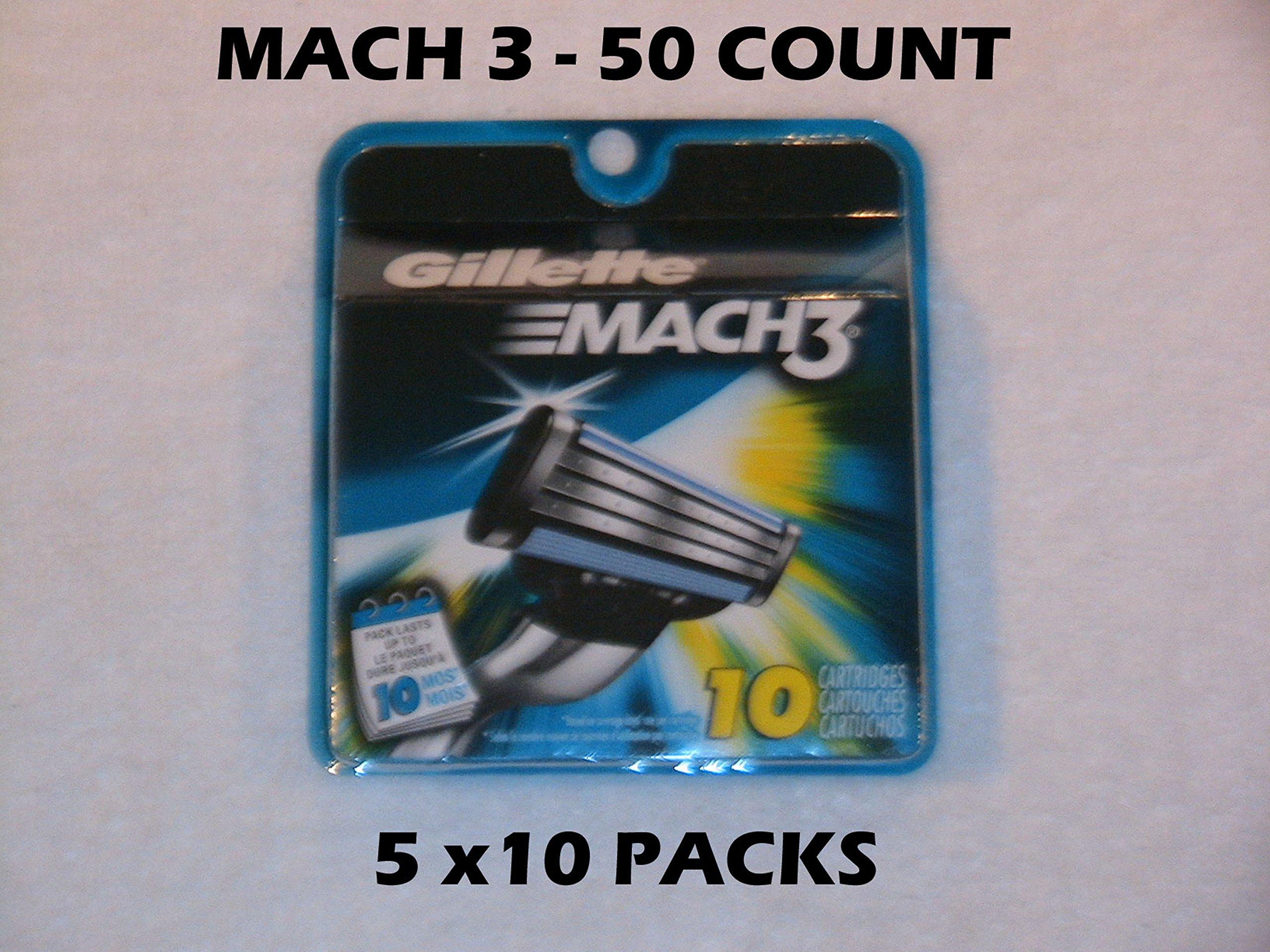 Gillette Mach 3 - 50 Count (5 x 10 Packs)