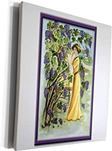 3dRose BLN Vintage Food and Drink Labels and Posters - Vintage Victorian Woman in a Vineyard of Purple Grapes - Museum Grade Canvas Wrap (cw_149266_1)