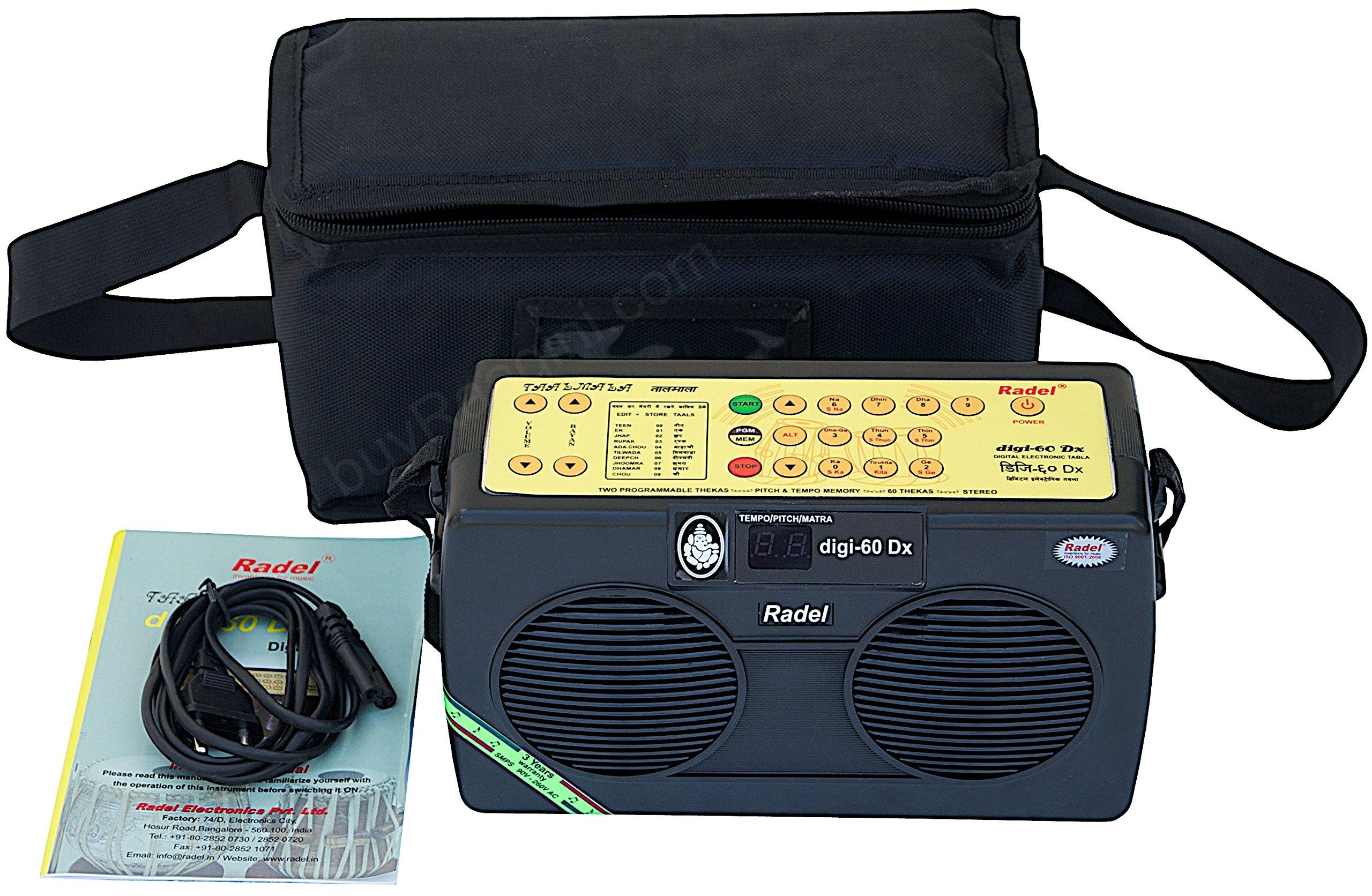 Electronic Tabla - RADEL Digi 60 Electronic Tabla Drum Kit, Digital Tabla Sampler, DJ Tabla Sound Machine, Power Cord, Bag, Instruction Manual (PDI-AAG) by Radel at buyRaagini.com
