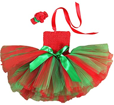 a6670d75e44d Amazon.com: ONFUNU Girls Christmas Costume Santa Party Xmas Tutu Dress up  Outfits with Headband: Clothing