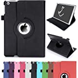 RC iPad Air 360 Rotating Smart Case Cover Leather Stand 2014 Version for Apple iPad Air iPad 5 with Sleep/Wake (Black)