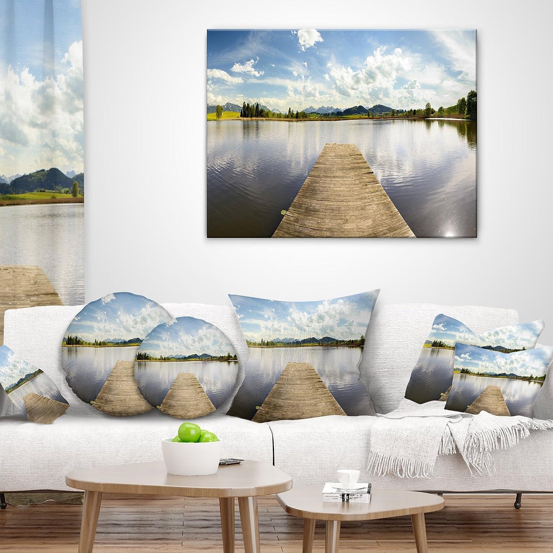 Designart CU11672-18-18 Pier into Sea Bavaria Panorama Seascape Throw Cushion Pillow Cover for Living Room Sofa 18 x 18