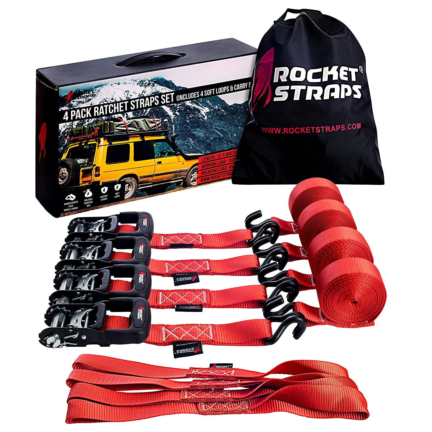 Moving Straps Ratchet Strap Bag Heavy Duty Ratchet Straps 1.5 x 15-4500 lbs Break Strength Ratchet Tie Down Straps I 4 Soft Loops Motorcycle Trailer and Truck Straps Rocket Straps