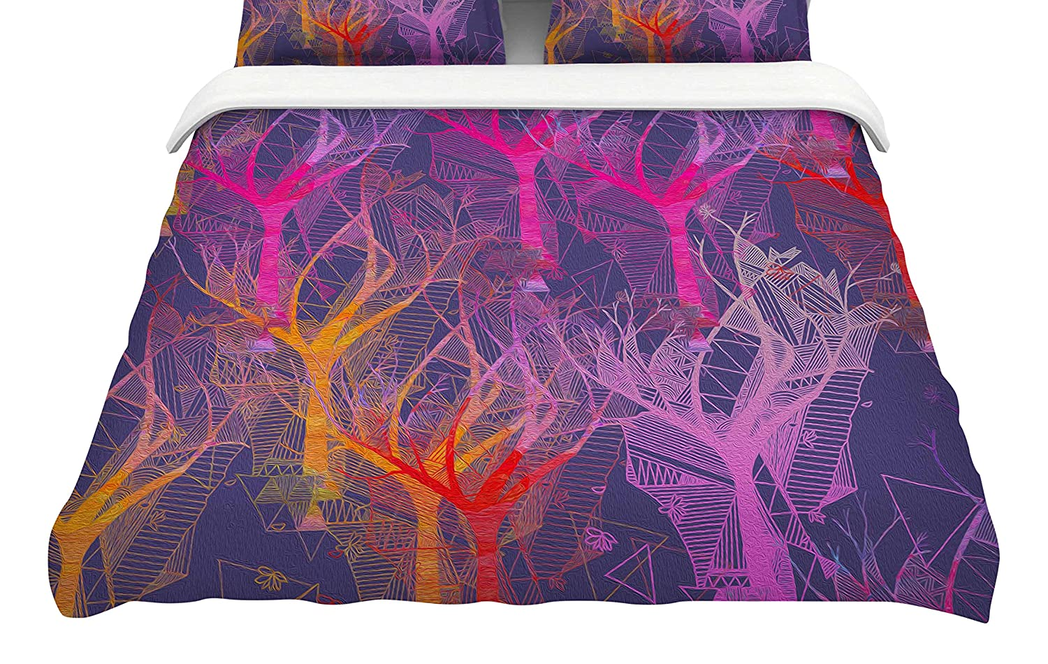 88 x 88, Kess InHouse Marianna Tankelevich Colorful Trees Featherweight Queen Duvet Cover