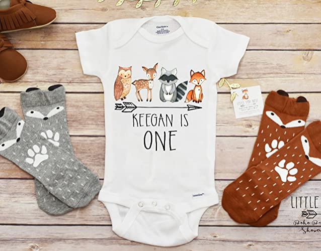 Amazon Fall OnesieR Birthday Baby Boy Clothes Shirt First Woodland Creatures Handmade