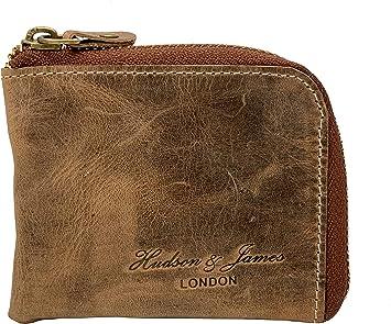 Black Designer Hudson /& James London Real Leather Mens Wallet Credit Carder Holder Bifold Purse with Gift Box