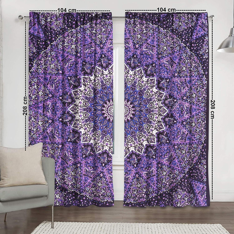 Handmade Indian Curtains Home Wall Decor Queen Drape Valances Hippie Window Treatment Dorm Decor Boho Tapestry Hippie 82/'/' x 41/'/'