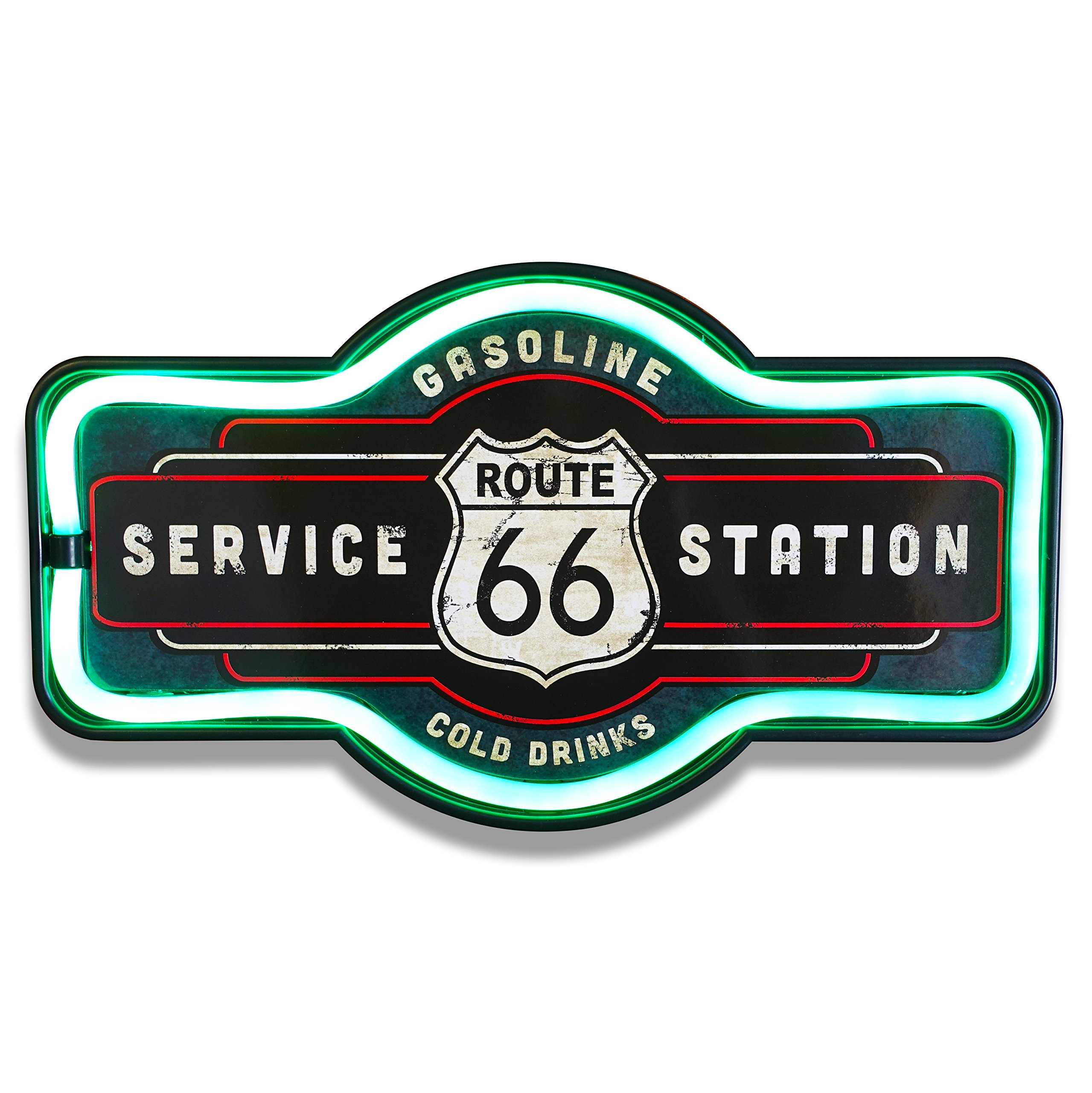 Route 66 LED Lighted Sign, 17'' Marquee Shape, LED Light Rope Designed To Give Look Of Neon, Wall Decor For Home, Bar, Garage, or Man Cave