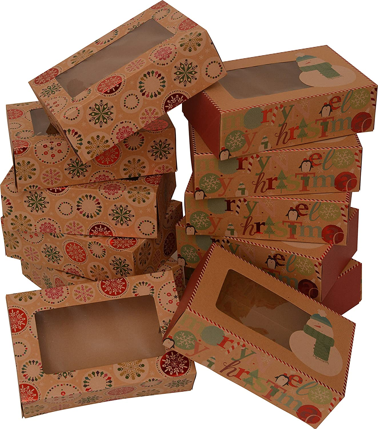 "Christmas Doughnut and Cookie gift boxes; rectangle with clear window; brown kraft with hot stamp Christmas designs; 6 of each print; set of 12 boxes (12 x 3.75 x 2.75) (12, 8.6"" x 6"" x 2.75"")"