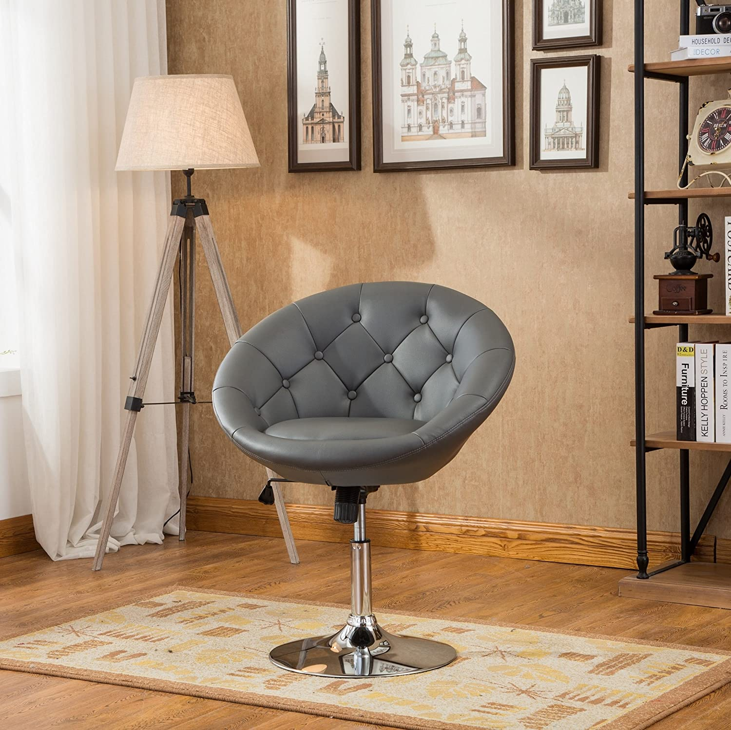 Roundhill Furniture Noas Contemporary Round Tufted Back Tilt Swiviel Accent Chair, Grey