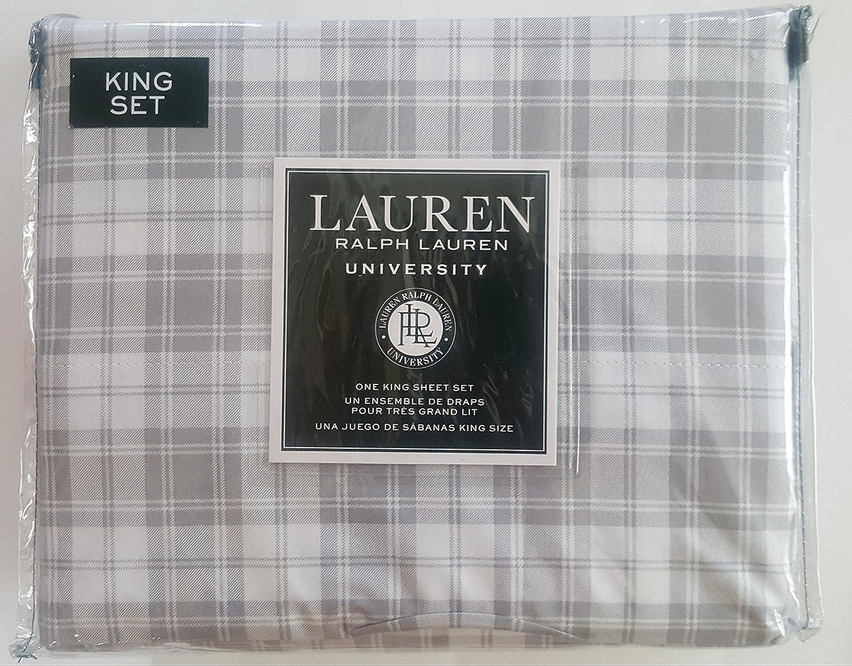Ralph Lauren University Bedding King 4 Piece Cotton Sheet Set Gray Stripes Classic Plaid Pattern King 4 pc