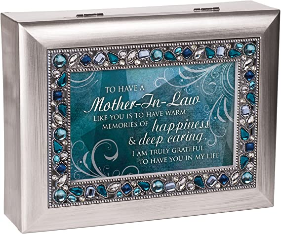 Cottage Garden Mother in Law Truly Grateful Silver Tone Jeweled Music Box Plays Wind Beneath My Wings JM386C