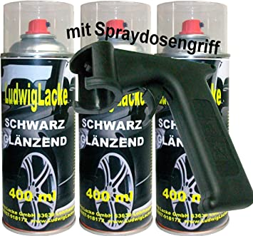 Ludwiglacke 3 Lackspray Schwarz Glänzend 400 Ml Je Spraydose Spraydosengriff Auto