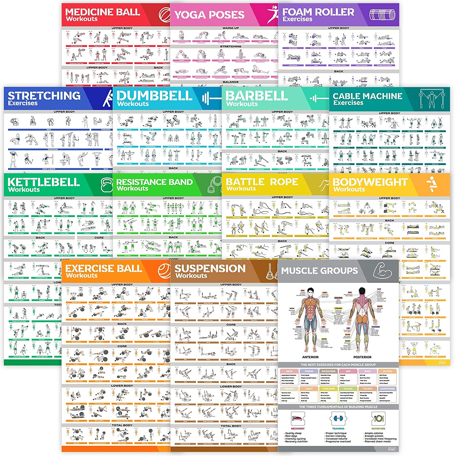 14-Pack Laminated Large Workout Poster Set - Perfect Workout Posters For Home Gym - Exercise Charts Incl. Dumbbell, Yoga Poses, Resistance Band, Kettlebell, Stretching & More Fitness Gym Posters