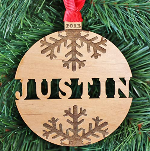Amazon.com: Personalized Name Christmas Ornament, Handmade Engraved ...