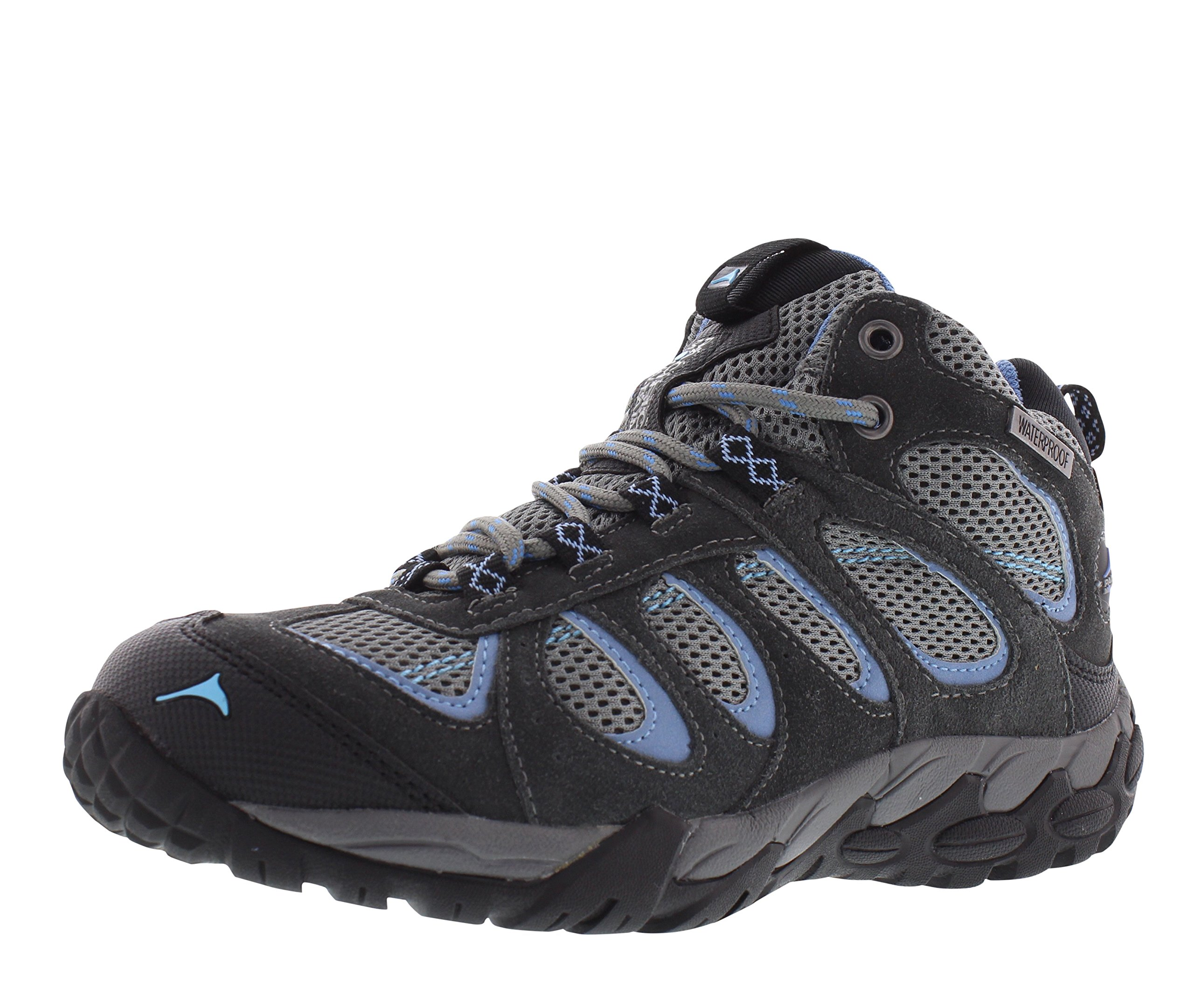 Pacific Mountain Moraine Women's Waterproof Hiking Backpacking Mid-Cut Grey/Black/Blue Boots Size 7 by Pacific Mountain