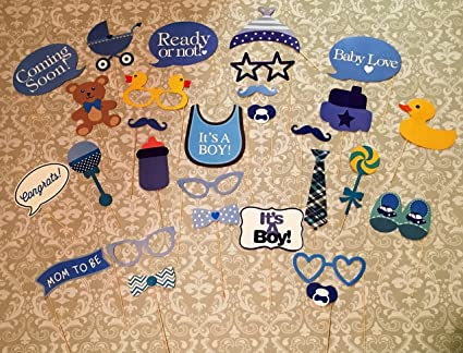 Baby Shower Photo Booth Props, 29 Pcs Attached To The Stick, NO DIY REQUIRED