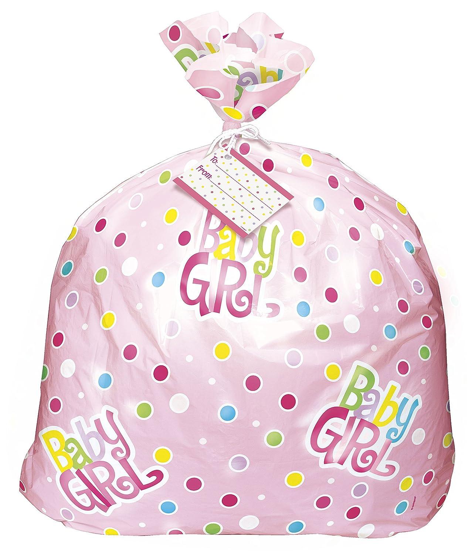 Amazon Jumbo Plastic Pink Polka Dot Girl Baby Shower Gift Bag