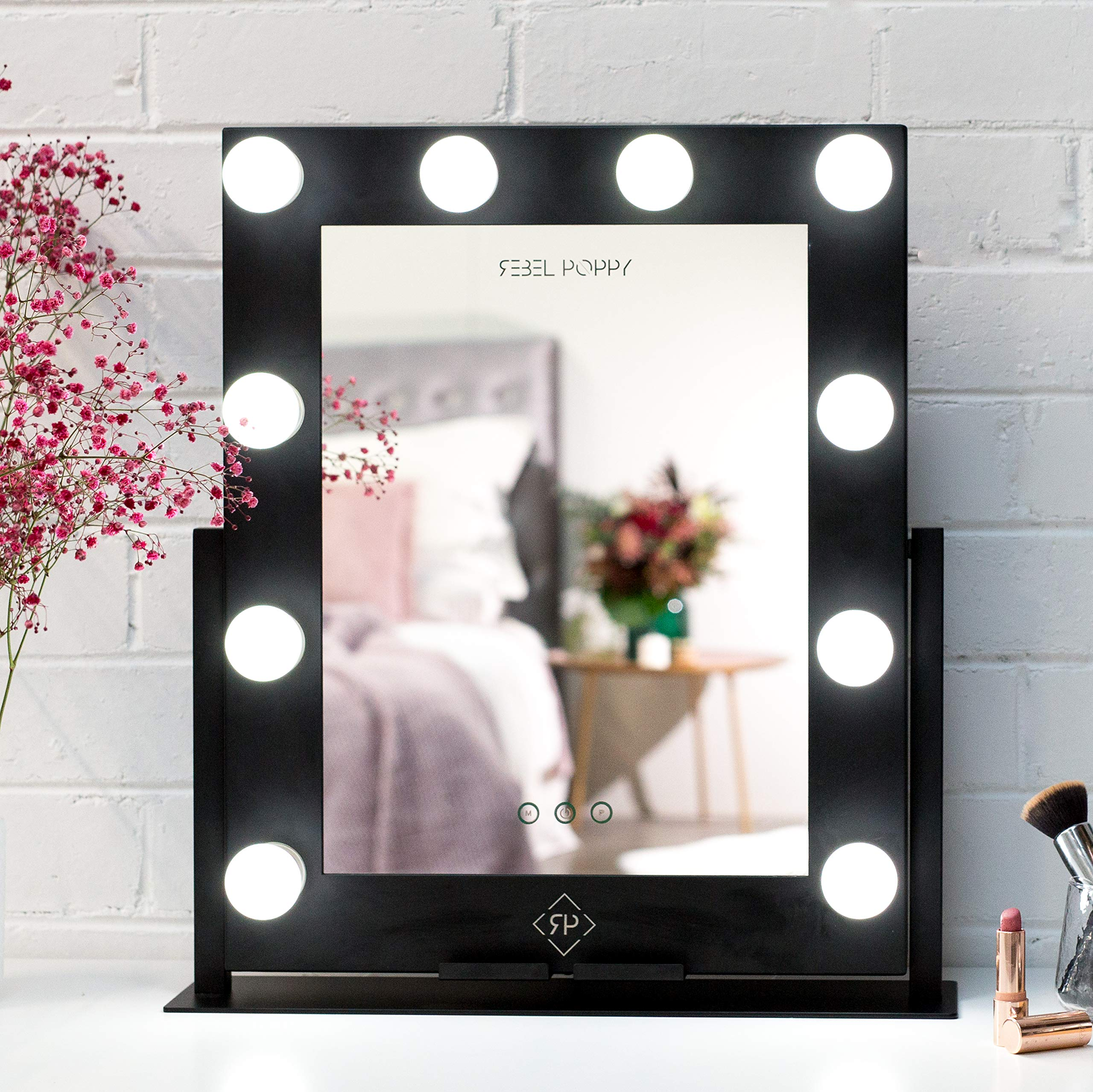 Rebel Poppy Lighted Vanity Mirror with Lights - Makeup Mirror with Phone Holder, 3 Colour Touch Control, LED Replaceable Screw In Bulbs, Hollywood Style Lighted Makeup Mirror, 21.5'' x 19'', Black, Glam by Rebel Poppy