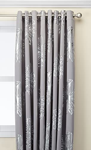 Deconovo Fashion Light Grey Flower Foil Printed Thermal Insulated Bedroom Blackout Grommet Curtain for Children Room 100×95-inch