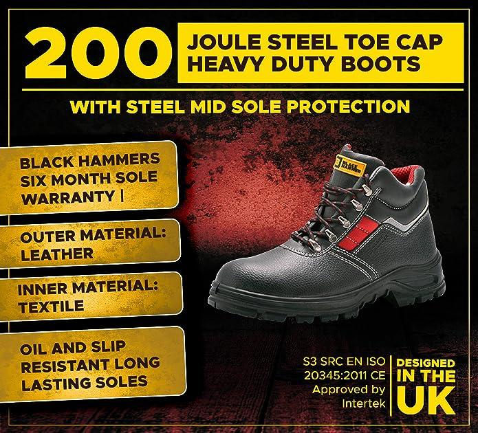 Eurotec Force S3 en Cuir Noir Gel Semelle Composite Toe Cap Semelle Bottes de sécurité