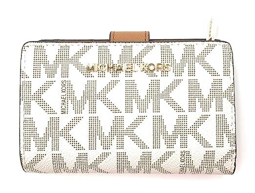 Michael Kors Damen Geldbörse, weiß mit MK Logo, 3x8x13 cm, Echtes Leder, JET SET TRAVEL