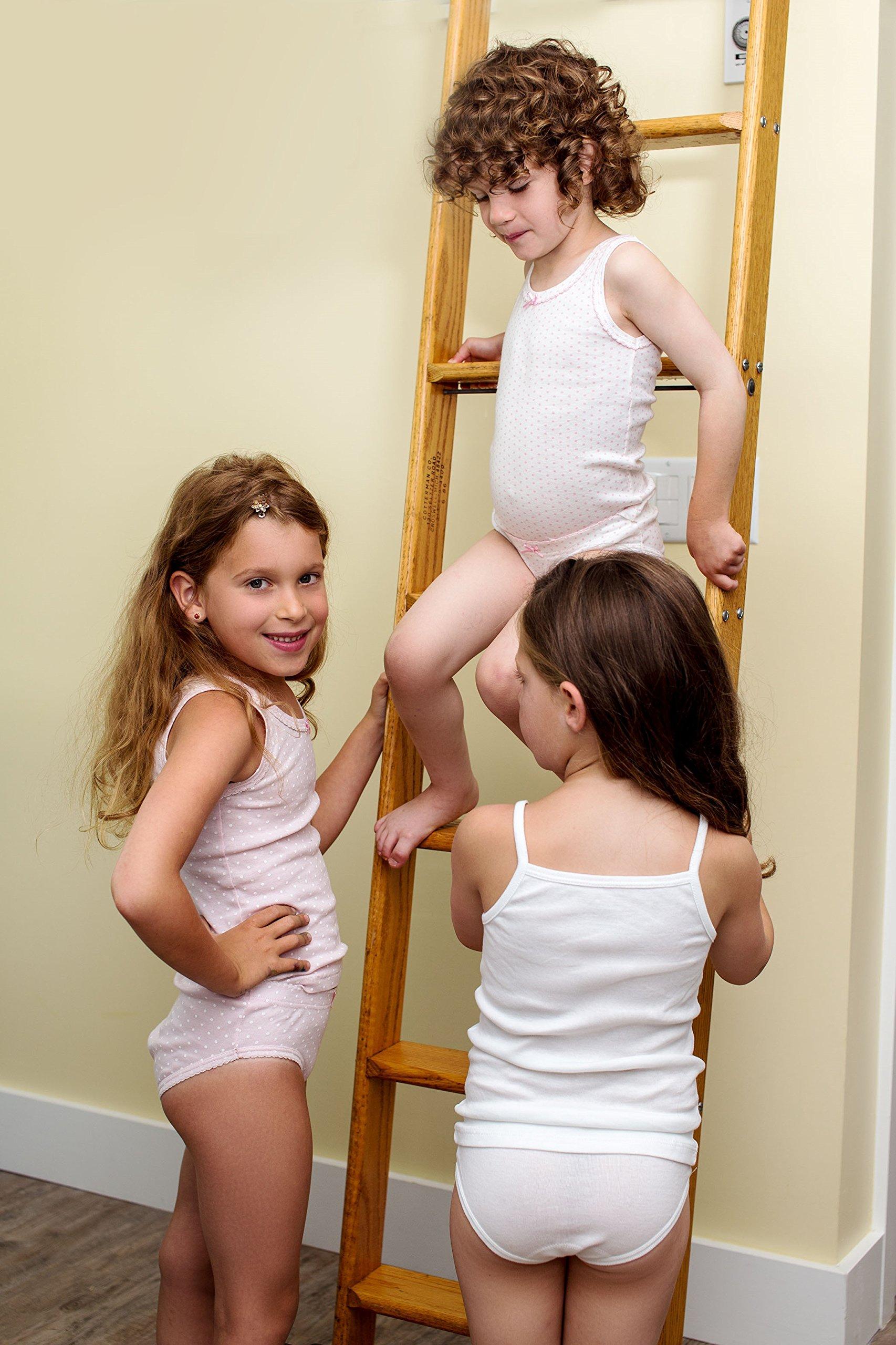 Amoureux Bebe Girls Cami Undershirts- Tagless Cotton Tank Tops-Pink/White, 3 Pk (8-9 Yrs) by Amoureux Bebe (Image #5)