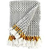 "Rivet Modern Hand-Woven Stripe Fringe Throw Blanket, Soft and Stylish, 50"" x 60"", Charcoal"