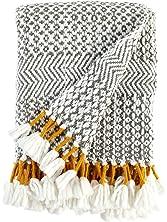 """Rivet Modern Hand-Woven Stripe Fringe Throw Blanket, 50"""" x 60"""", Charcoal"""