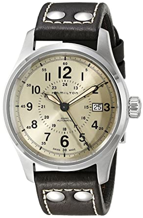62fce382d56 Image Unavailable. Image not available for. Color: Hamilton Men's H70595523 Khaki  Field Analog Swiss Automatic Brown Leather Watch