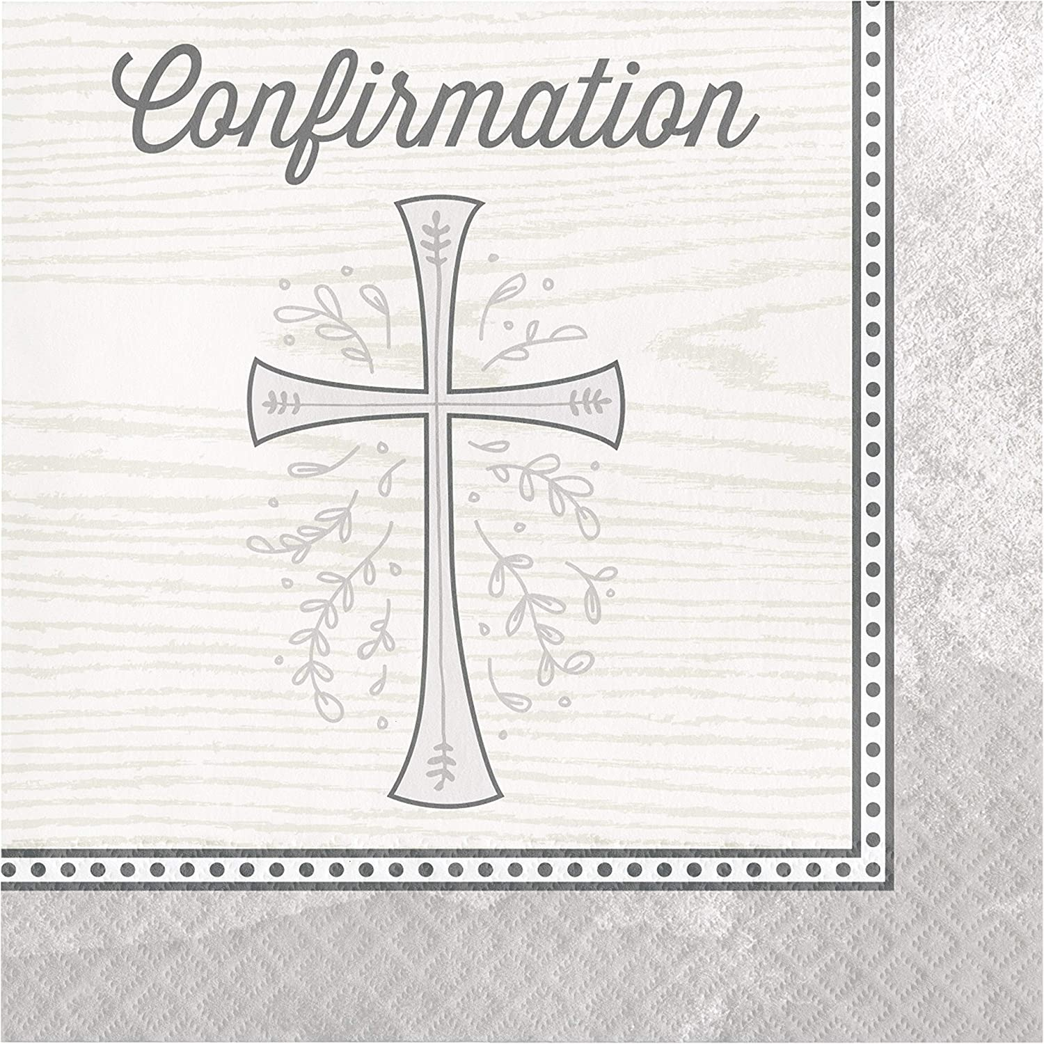 Divinity Silver Confirmation Napkins, 48 ct