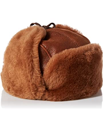Zavelio Unisex Shearling Sheepskin Leather Aviator Russian Ushanka Trapper  Winter Fur Hat 855e1403866