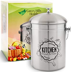Kitchen Compost Bin Stainless Steel (Food Grade 410) Odorless Countertop Compost Pail -Bonus Charcoal Filters & Gardening Gloves. Insect-proof 1.3 Gallon bucket. Gift Boxed, and Gift Wrap available