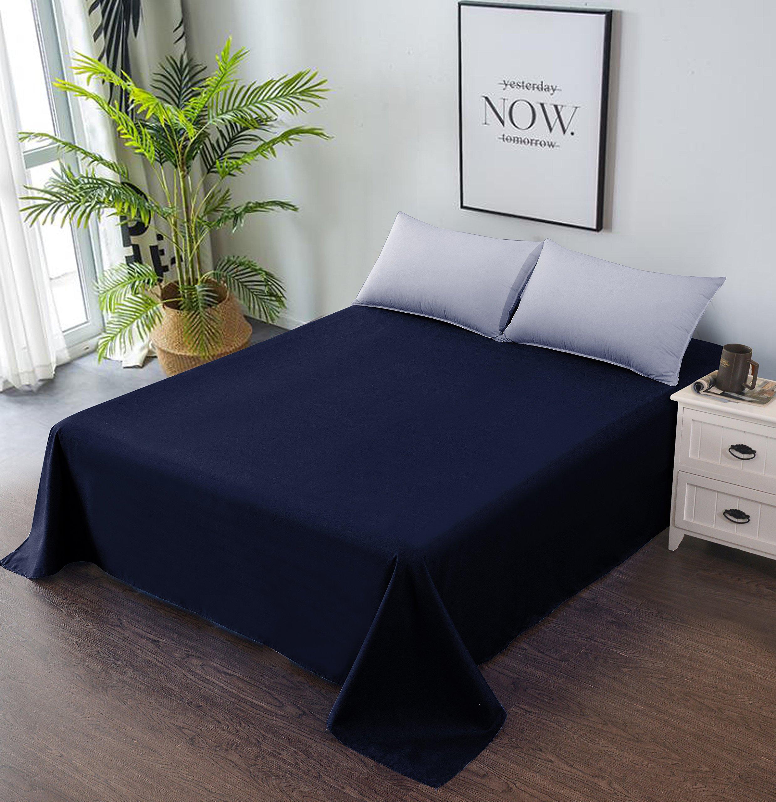 Goza Bedding Microfiber Flat Sheet (Navy, Queen)