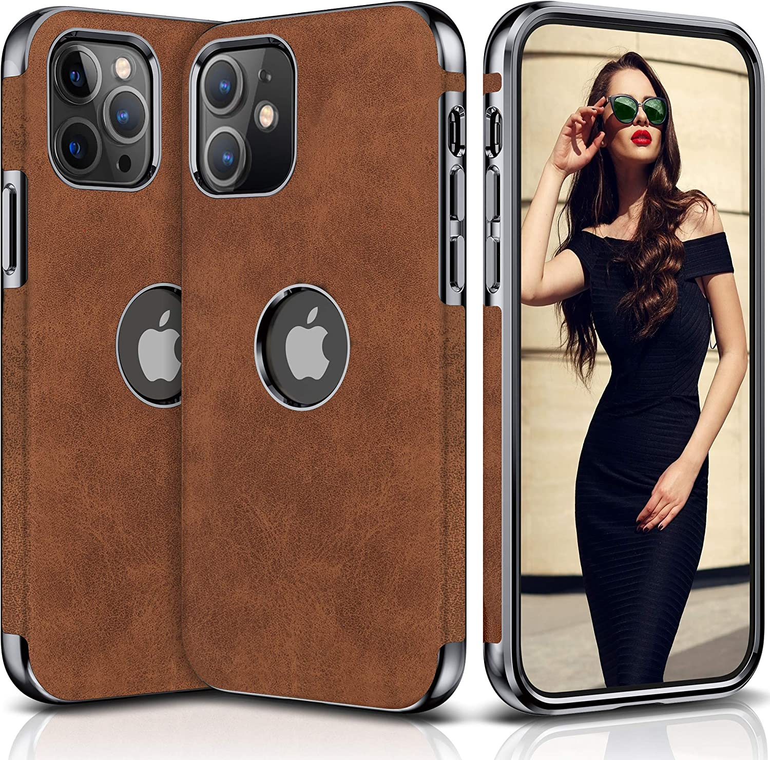 "LOHASIC Case for iPhone 12 Designed for iPhone 12 Pro Case, Slim Business PU Leather Soft Flexible Shockproof Bumper Protective Cover Cases Compatible with iPhone 12/12 Pro 6.1"" (2020) - Brown"