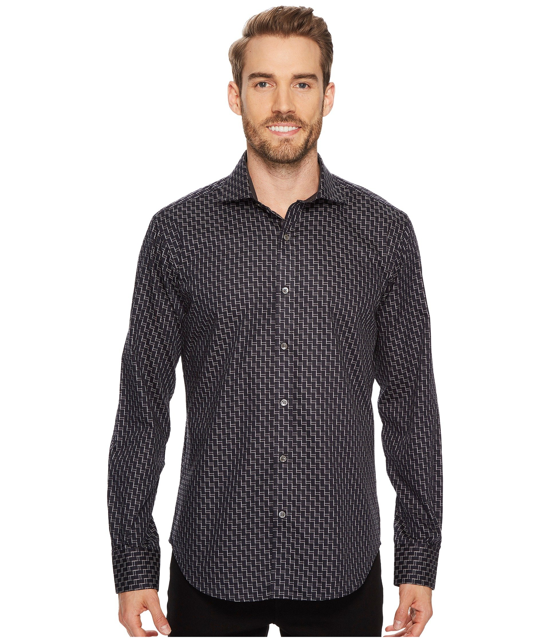 BUGATCHI Men's Cotton Slim Fit Spread Collar Woven, Black, Medium