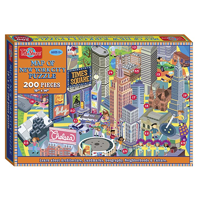 amazoncom ts shure map of new york city 200 piece jigsaw puzzle toys games